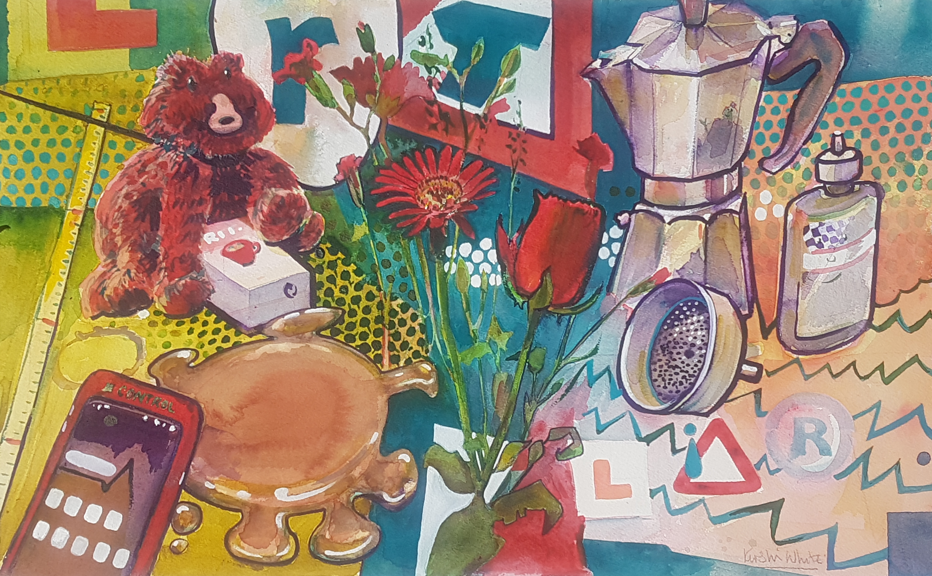 brightly coloured watercolour of a lert, coffee and the virus