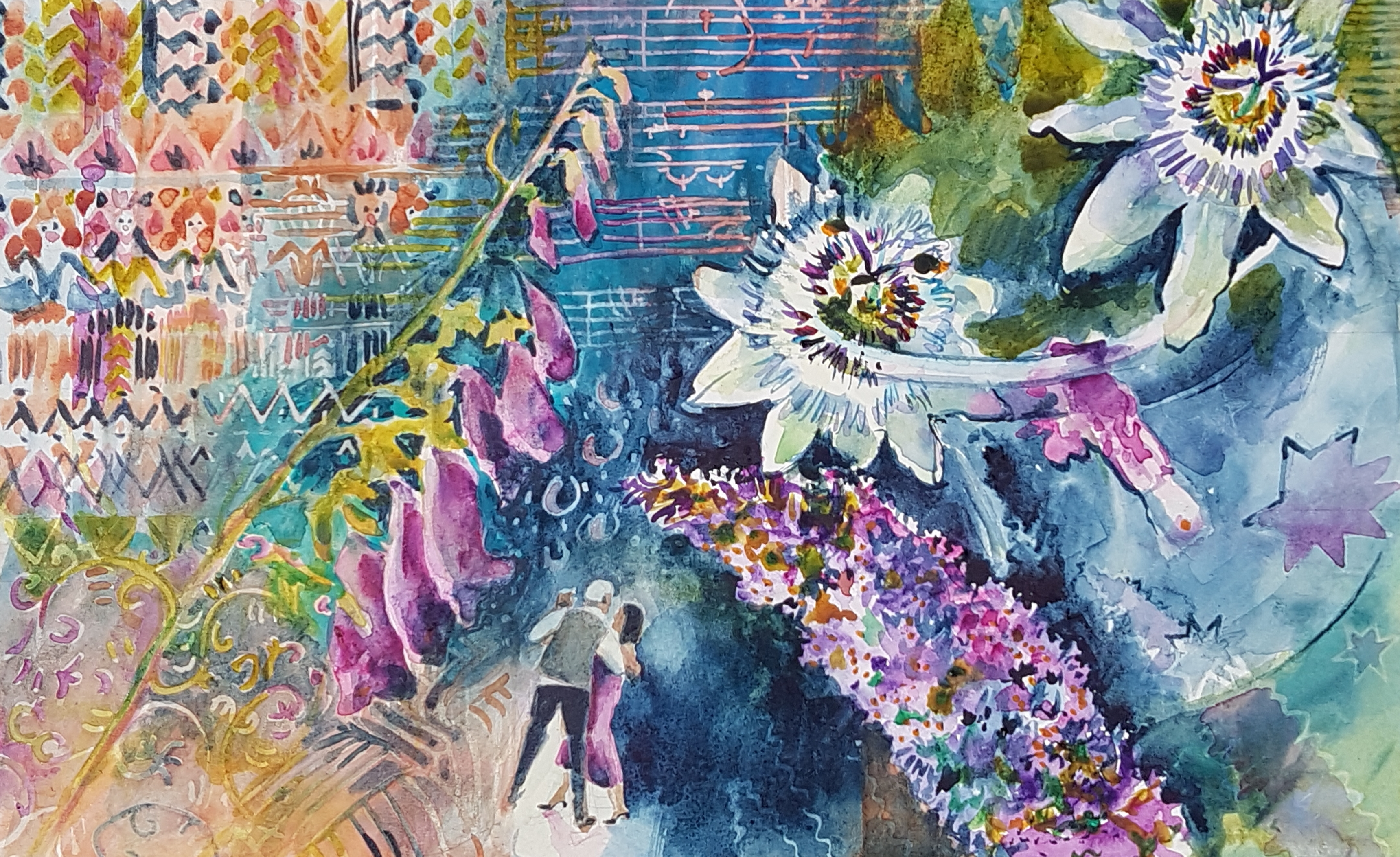 Watercolour painting with dancing couple and flowers