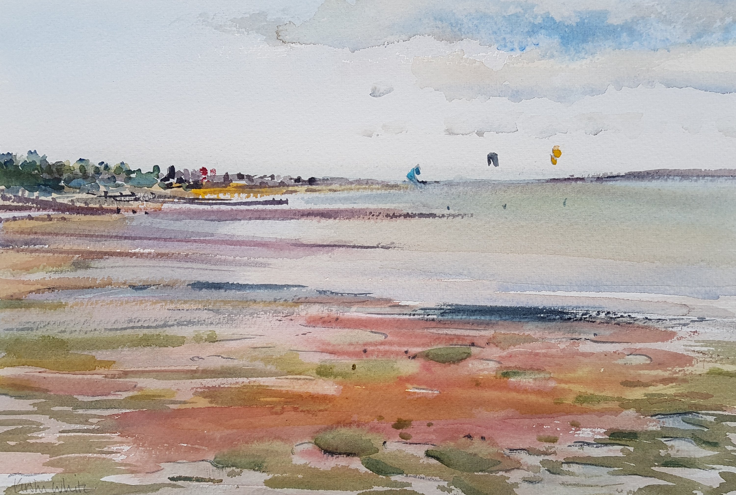 Hill Head, Tide Out - watercolour by Kirstin White