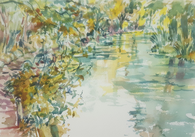 The Itchen at Brambridge, a watercolour by Kirstin White