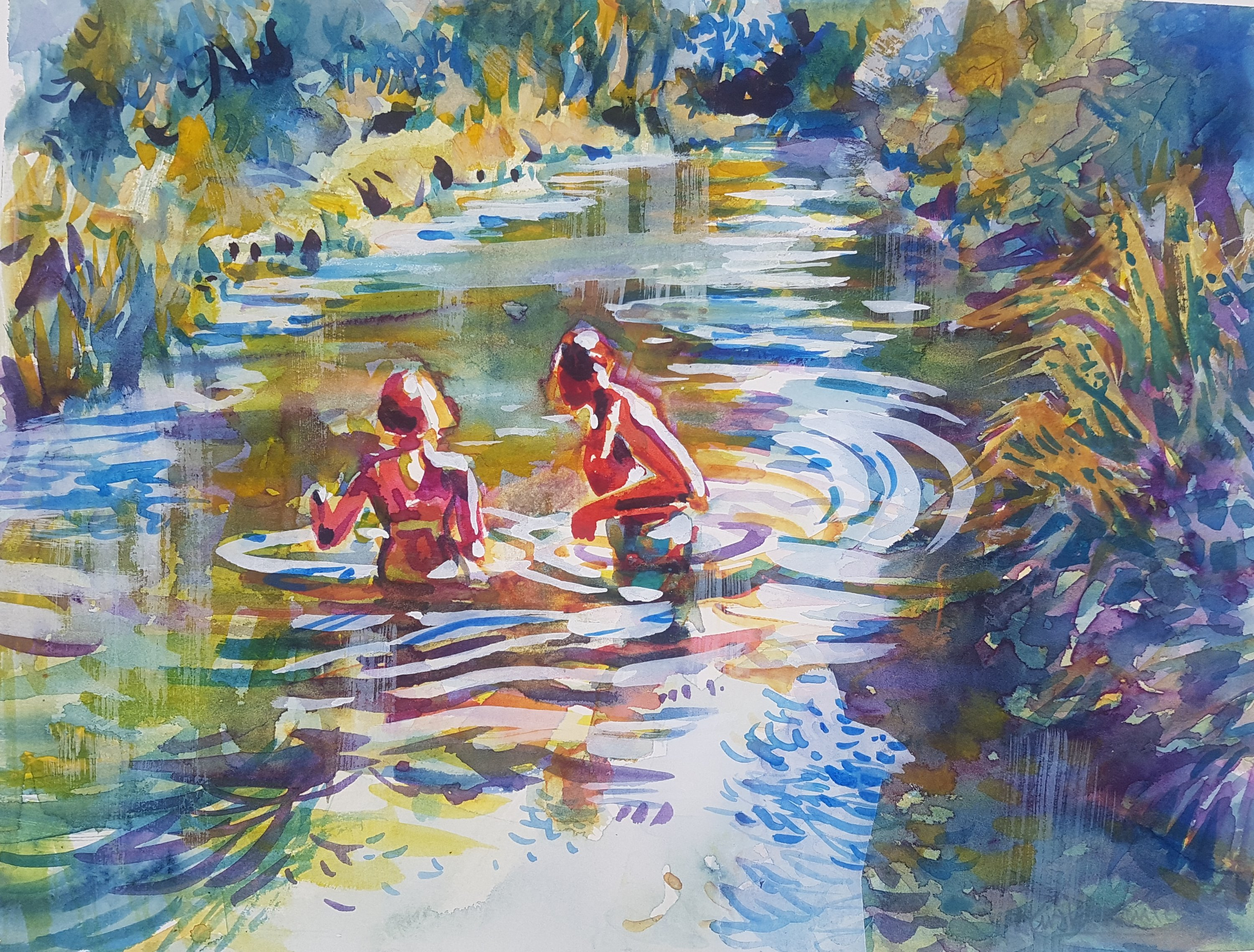 A Dip in the River - a watercolour by Kirstin White